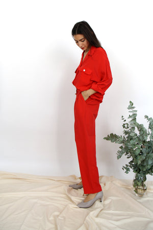 Tapered Red Cotton  Trousers