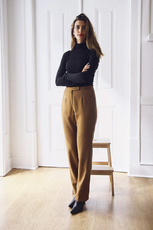 Light Brown Straight Fit Tapered Trousers