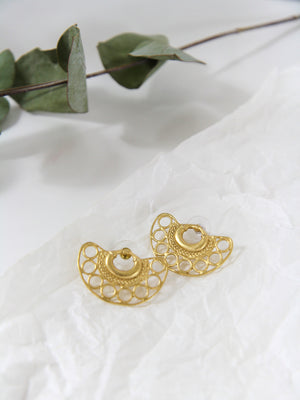 Cocora 24kt Fan Rivet Earrings