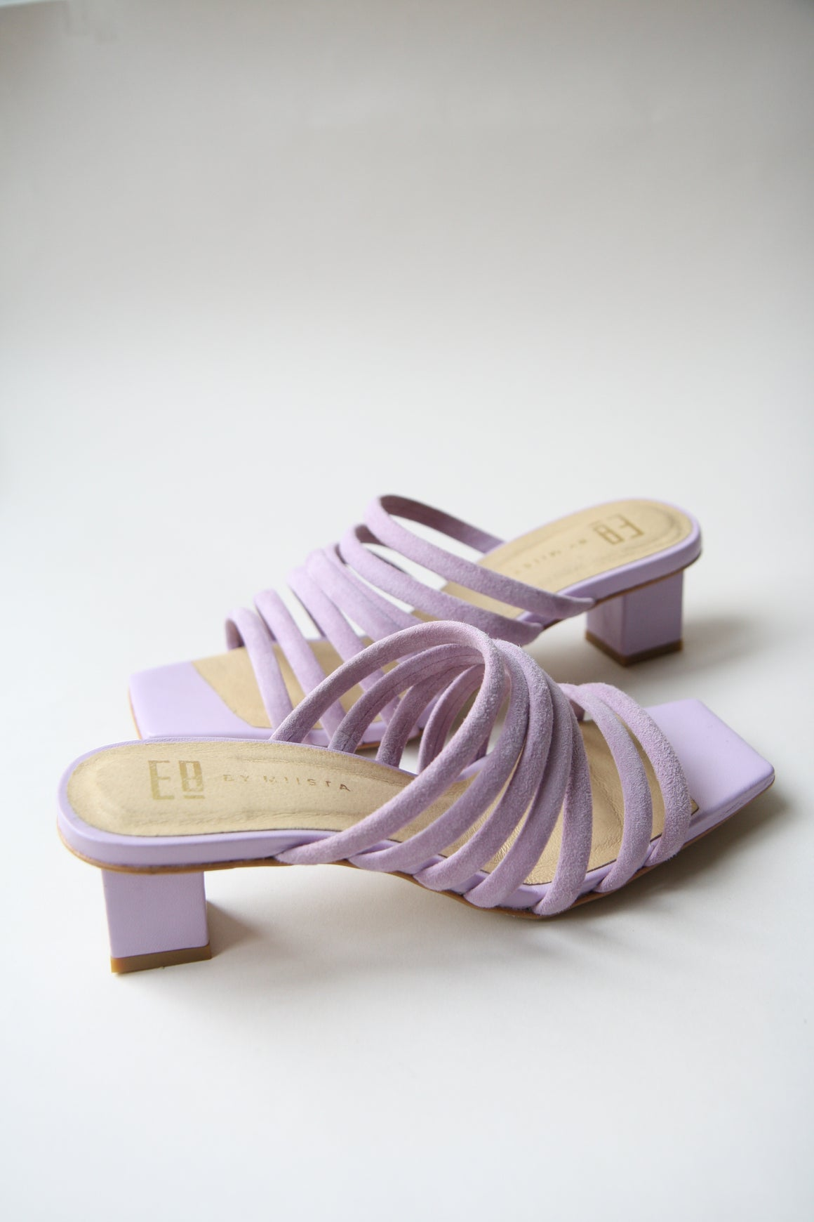 Alejandra Lilac Suede Mid-Heels Mules