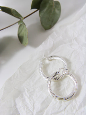 Thick Twisted Silver Hoop Earrings