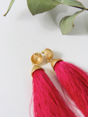 Gold and Fuschia Tassel Earrings