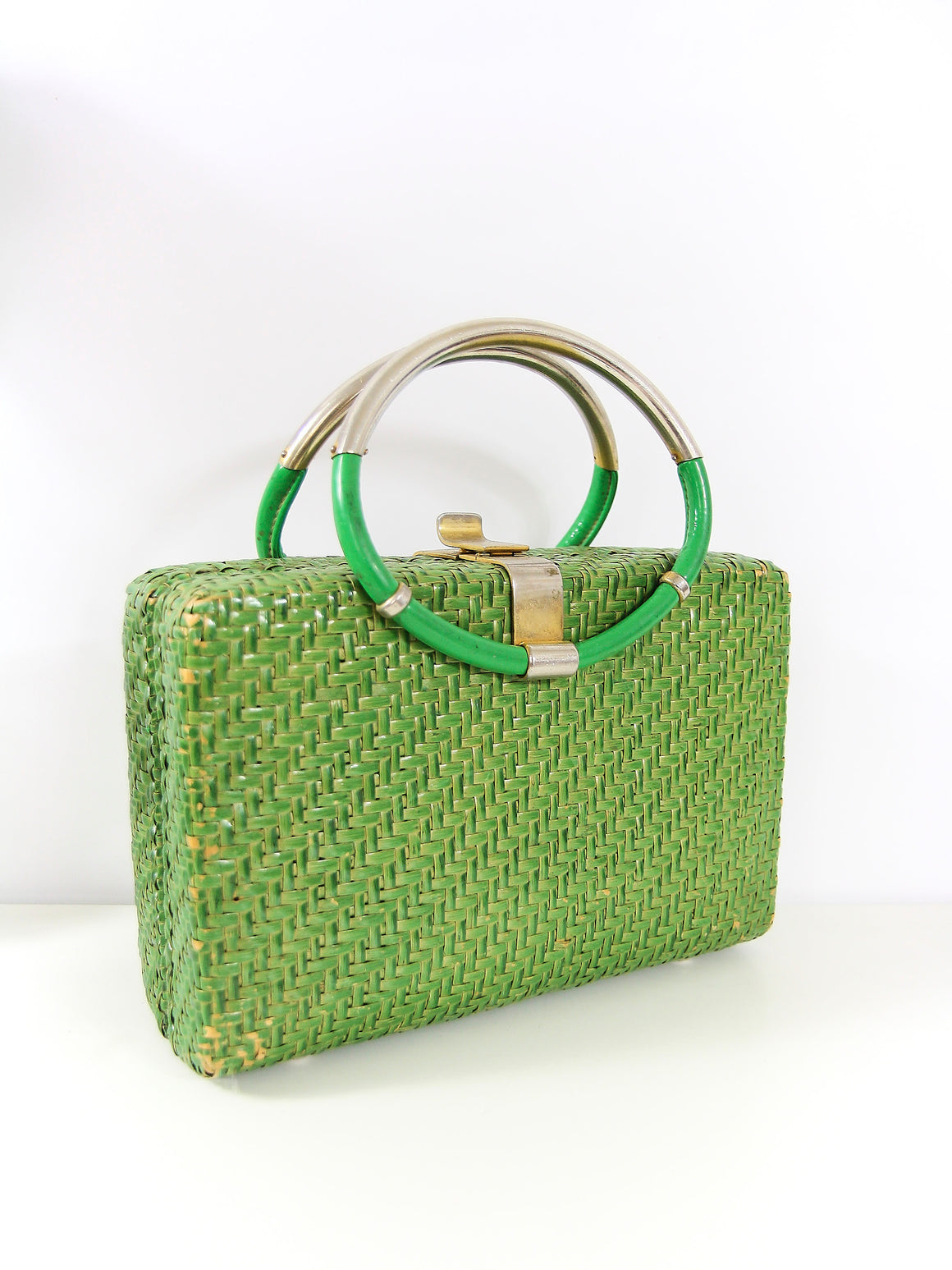 60s Lime Bamboo Box Bag