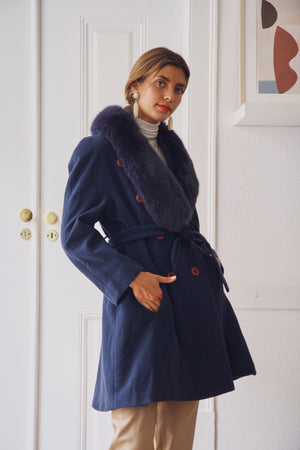 Vintage Blue Wool Fur Trim Coat