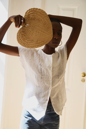 Pretty Linen Embroidered Blouse