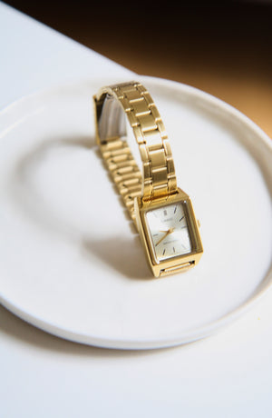 Elegant Square Face Casio Gold Watch
