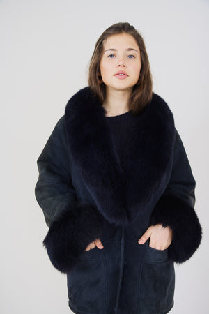 Navy Sheepskin and Fur Coat