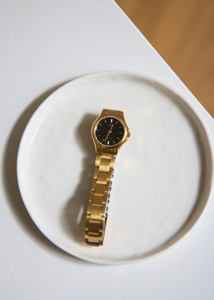 Black Round Face Casio Gold Watch