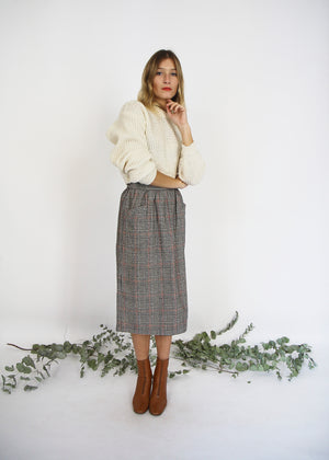 High Waisted Pleated Wool Skirt