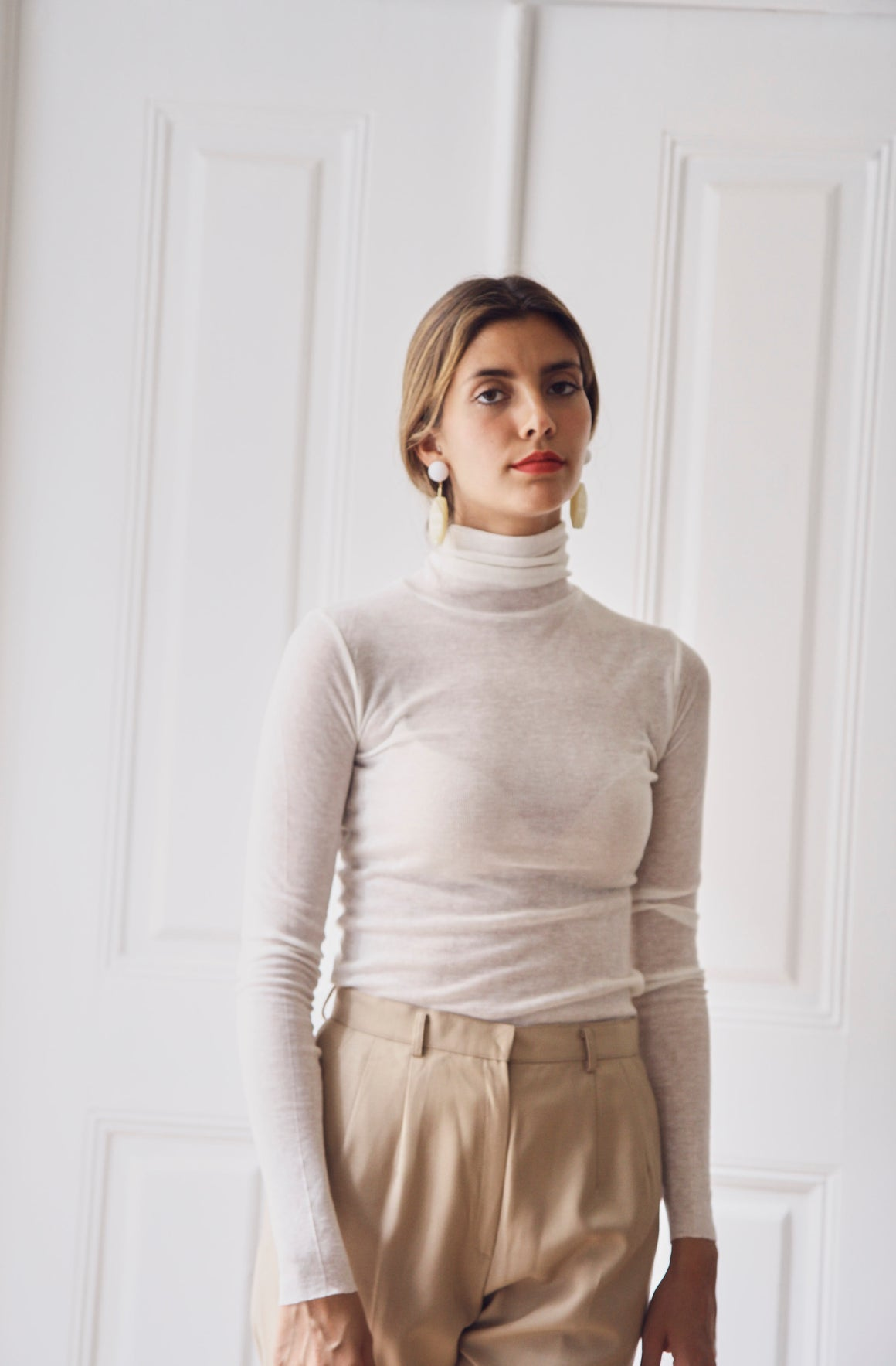 White Sheer Turtleneck
