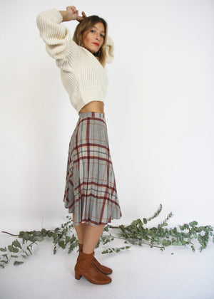 Wool Checked Pleated Skirt