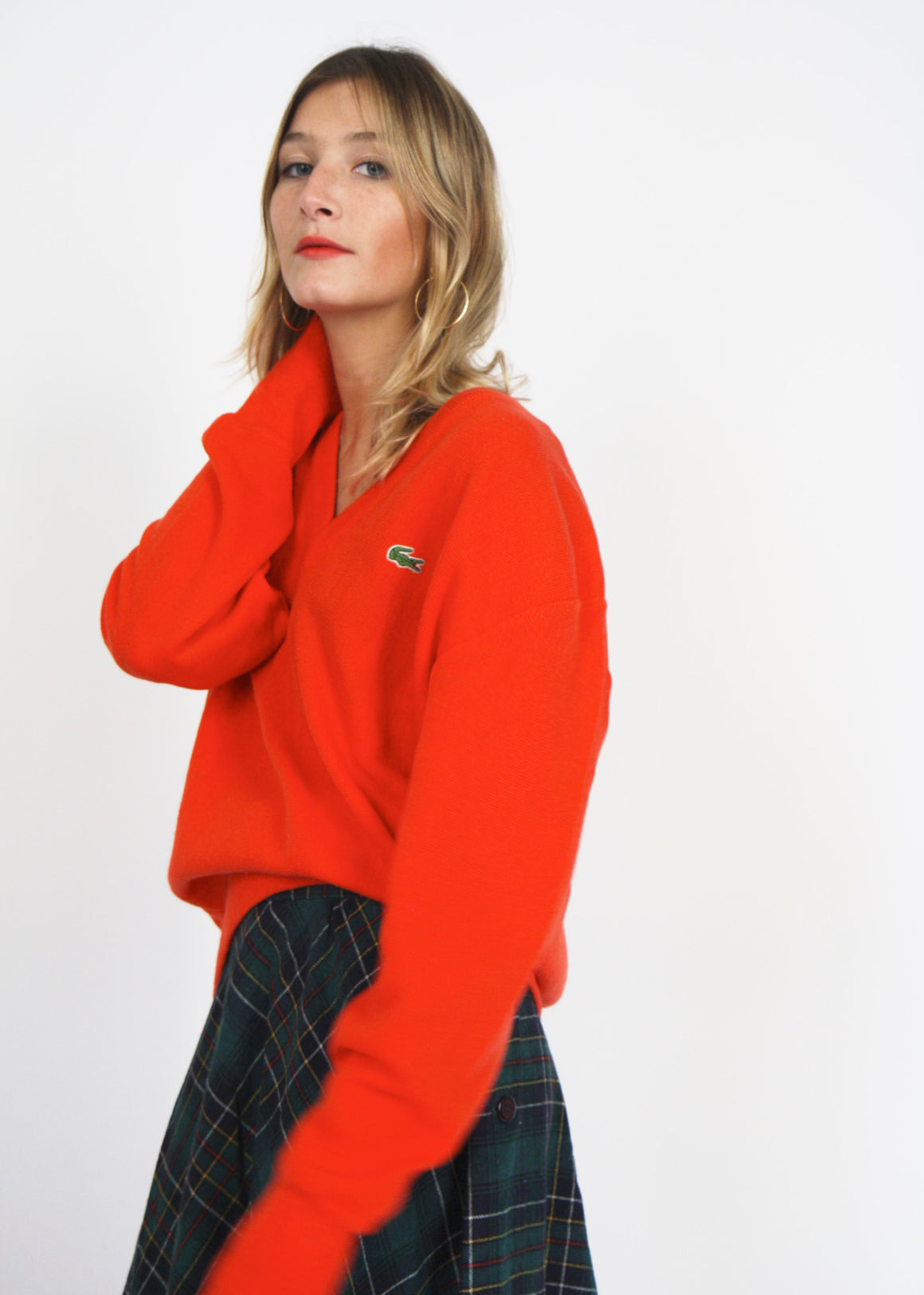 Orange Oversized Lacoste Cricket Jumper