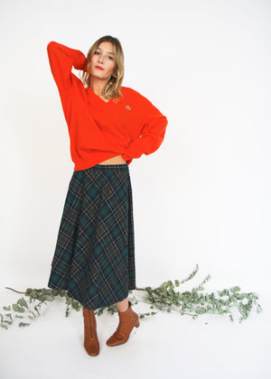 Checked Wool Swing Skirt