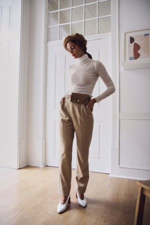 Beige High Waisted Tapered Trousers