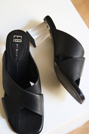 Paloma Black Leather Mules