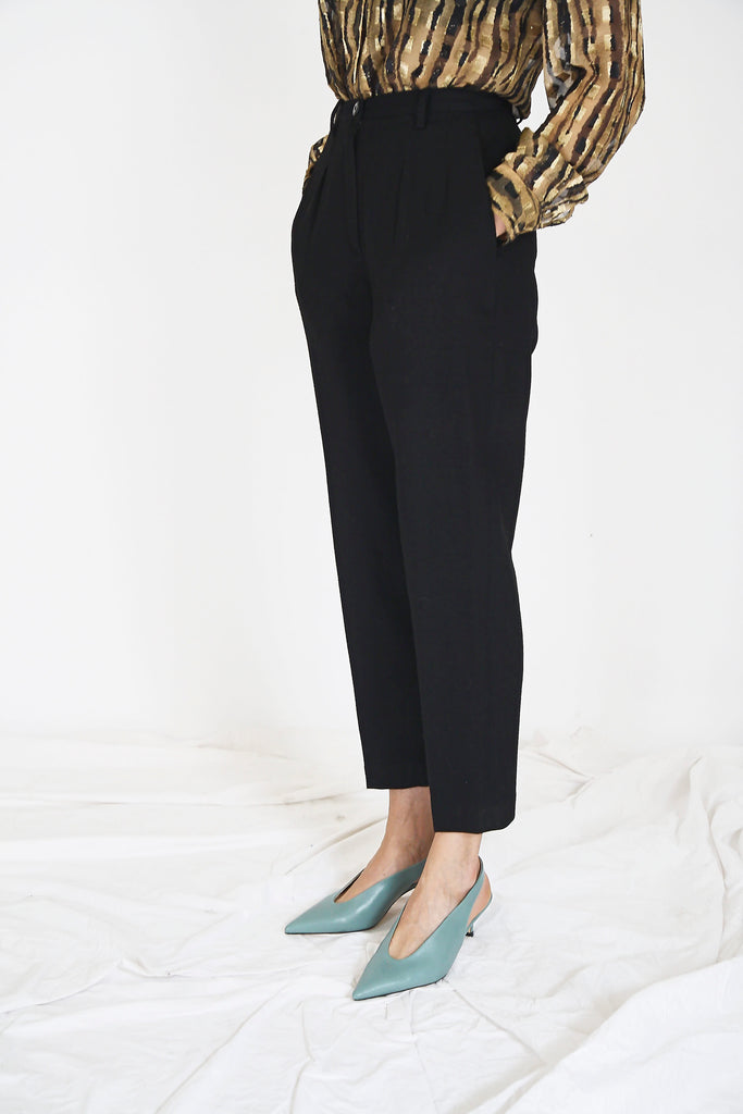 80s Black Tapered Wool Trousers