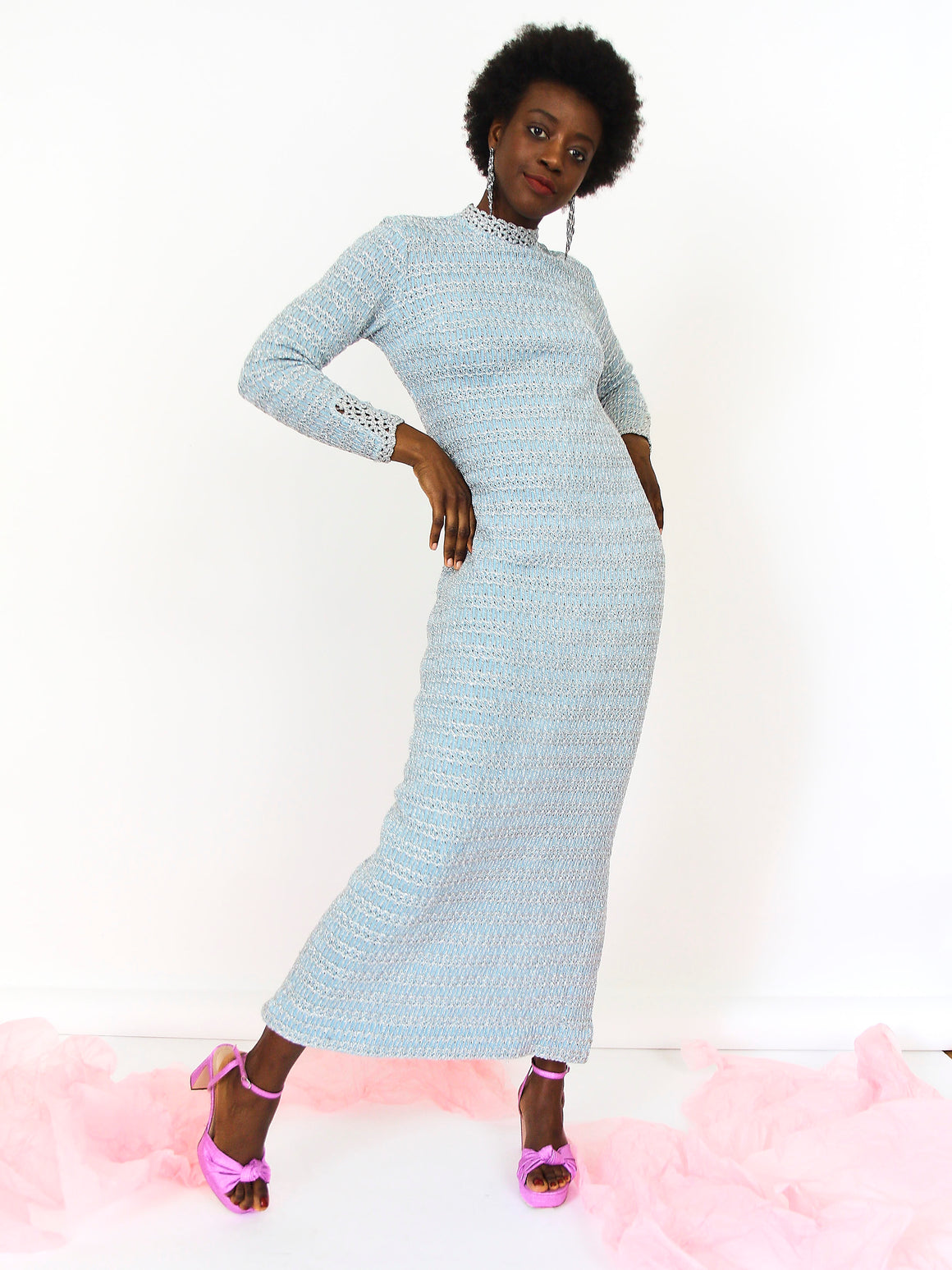 70s Pastel Blue Knitted Lurex Dress