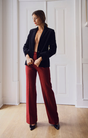 Bordeaux High Waisted Wool Trousers
