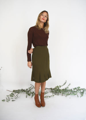 Olive Green 40s Style Pencil Skirt
