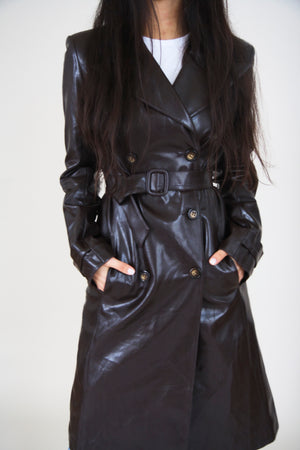Vegan Leather Brown Trench