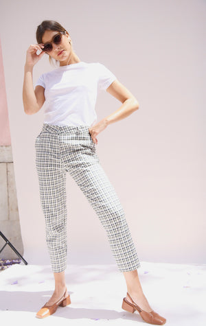 Green Checked Tapered Trousers