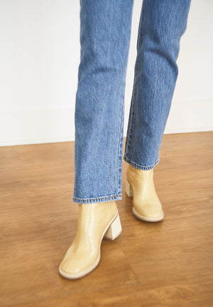 Cybil Beige Crinckle Leather Boots