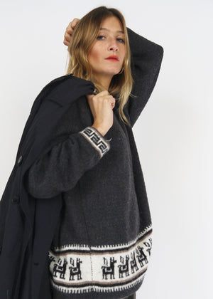 Charcoal Grey Lama Wool Jumper