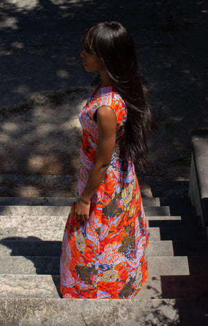 70's Vintage Psychedelic Statement Maxi Dress
