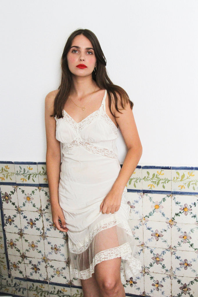60s Cream Silky Lace Detail Slip Dress