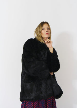 Gorgeous Black Rabbit Fur Coat