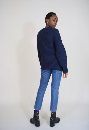 Flora Navy Chunky Cable Knit