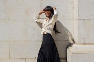 Black Chiffon Pleated Skirt