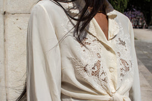 Vintage 80s Cream Silk Embroidered Blouse