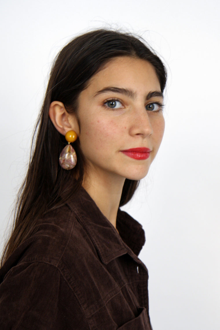 Mustard Marble Cuba Earrings