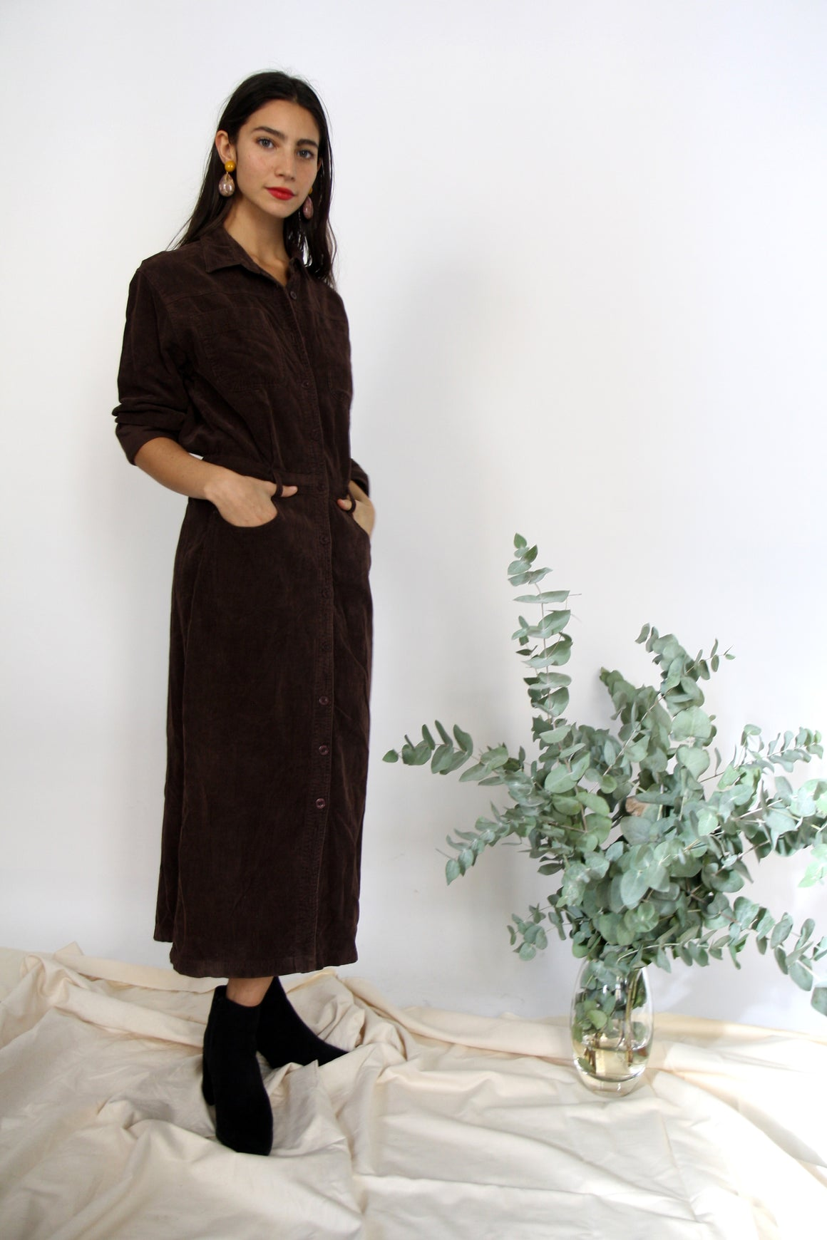70s Chocolate Corduroy Shirt Dress