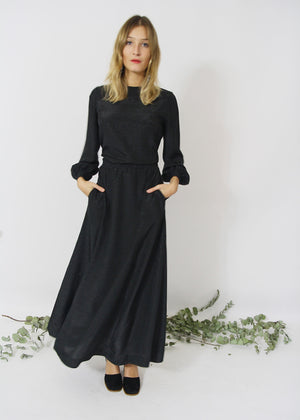 Black Full Length Swing Dress