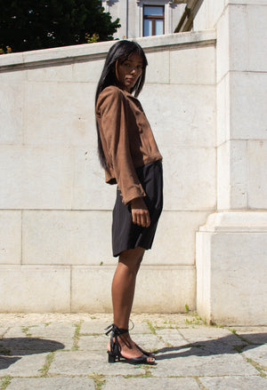 Chocolate Suede Tailored Jacket