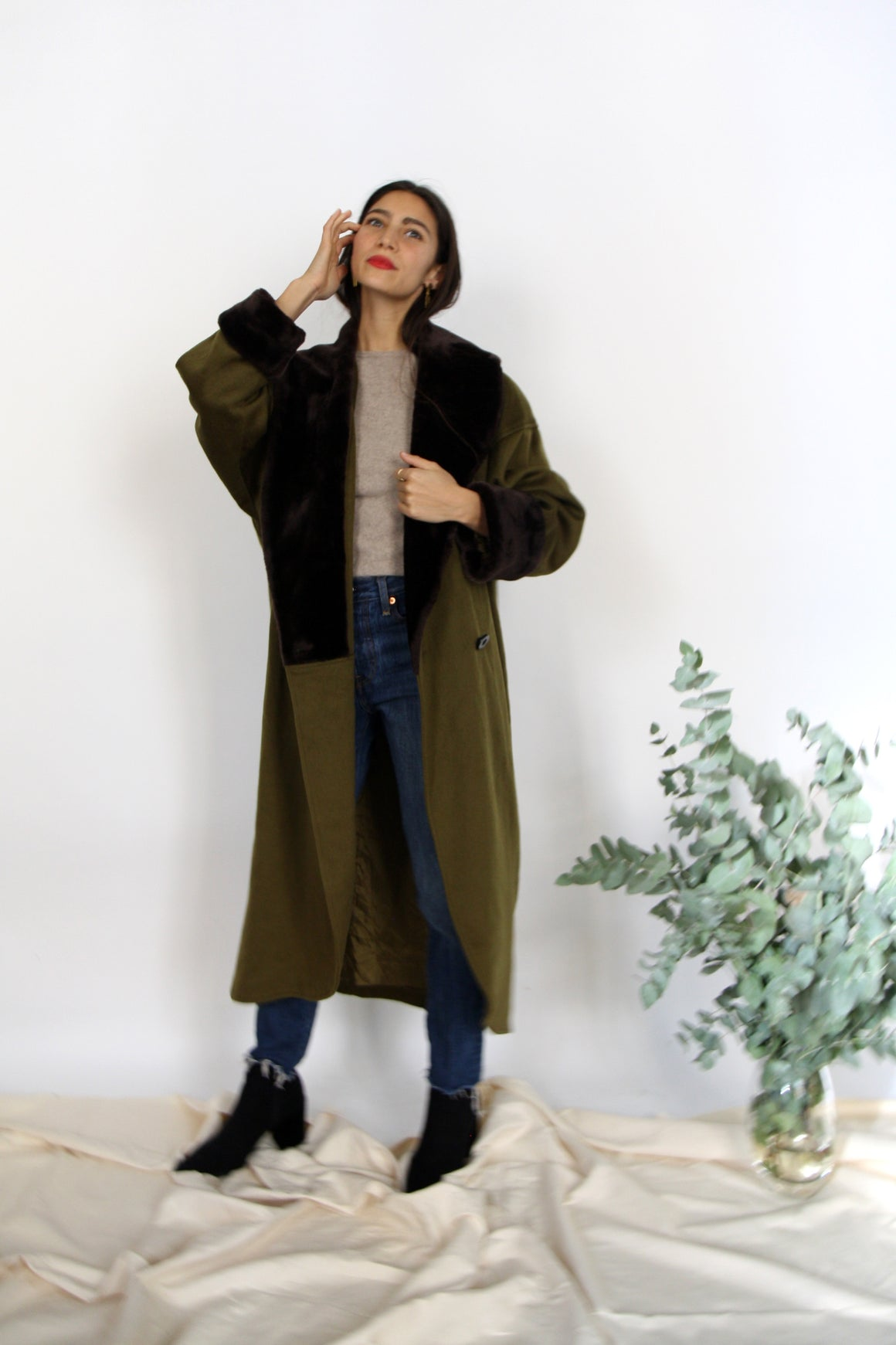 Olive Wool Blanket Coat