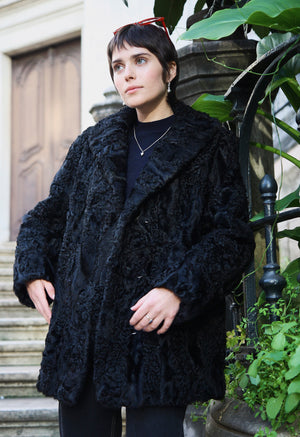 Black Calf Wool Coat