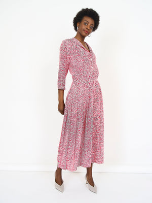 Abstract Printed Full Length Dress