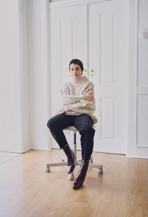Jaime Oatmeal Speckled Cable Knit