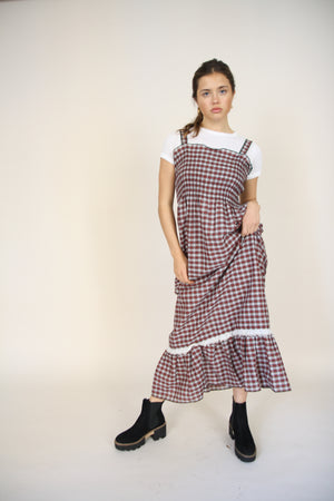 Boho Maxi Checked Dress