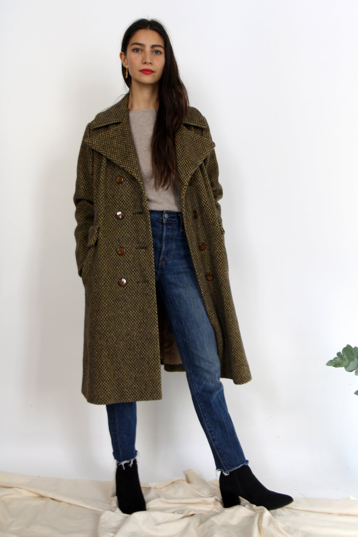 70s Wool Olive Checked Pea Coat