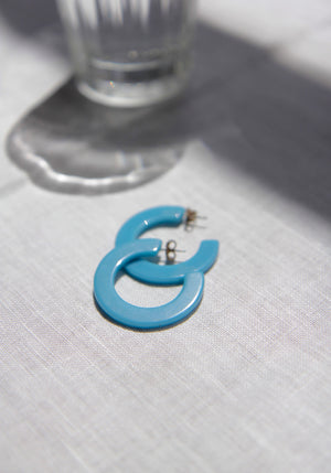 Perspex Moon Blue Earrings
