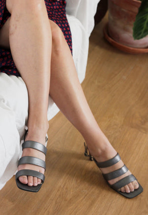 Pewter Leather Strappy Sandals.