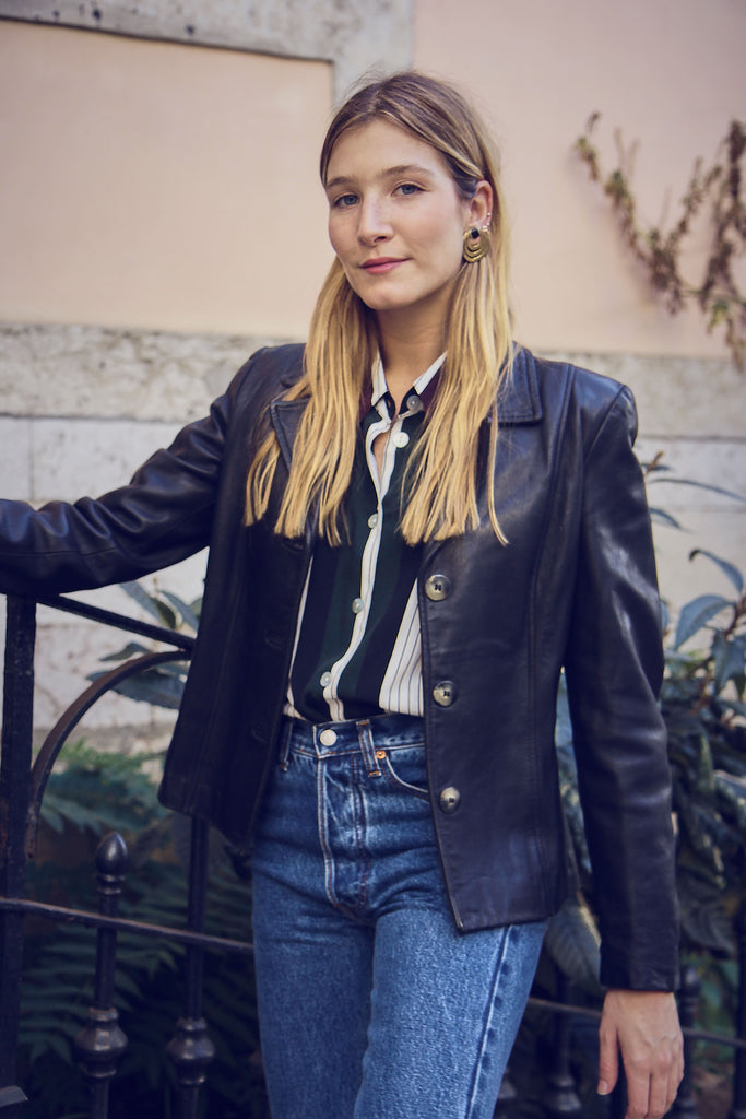 90s Vintage  Leather Blazer Jacket
