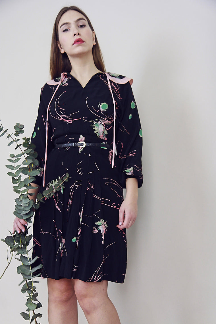 70s Printed Silky Midi Dress
