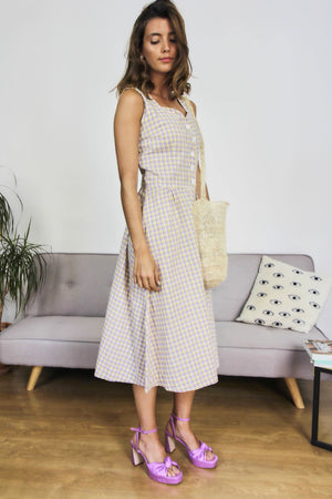 50s Style Cotton Checked Midi Dress