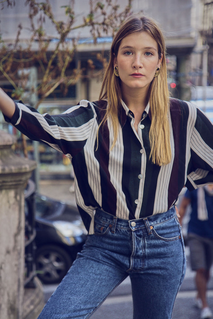 90's Cool Striped Button Up Blouse
