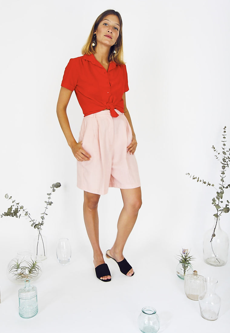 90s  Tailored Pink High-Waisted Shorts